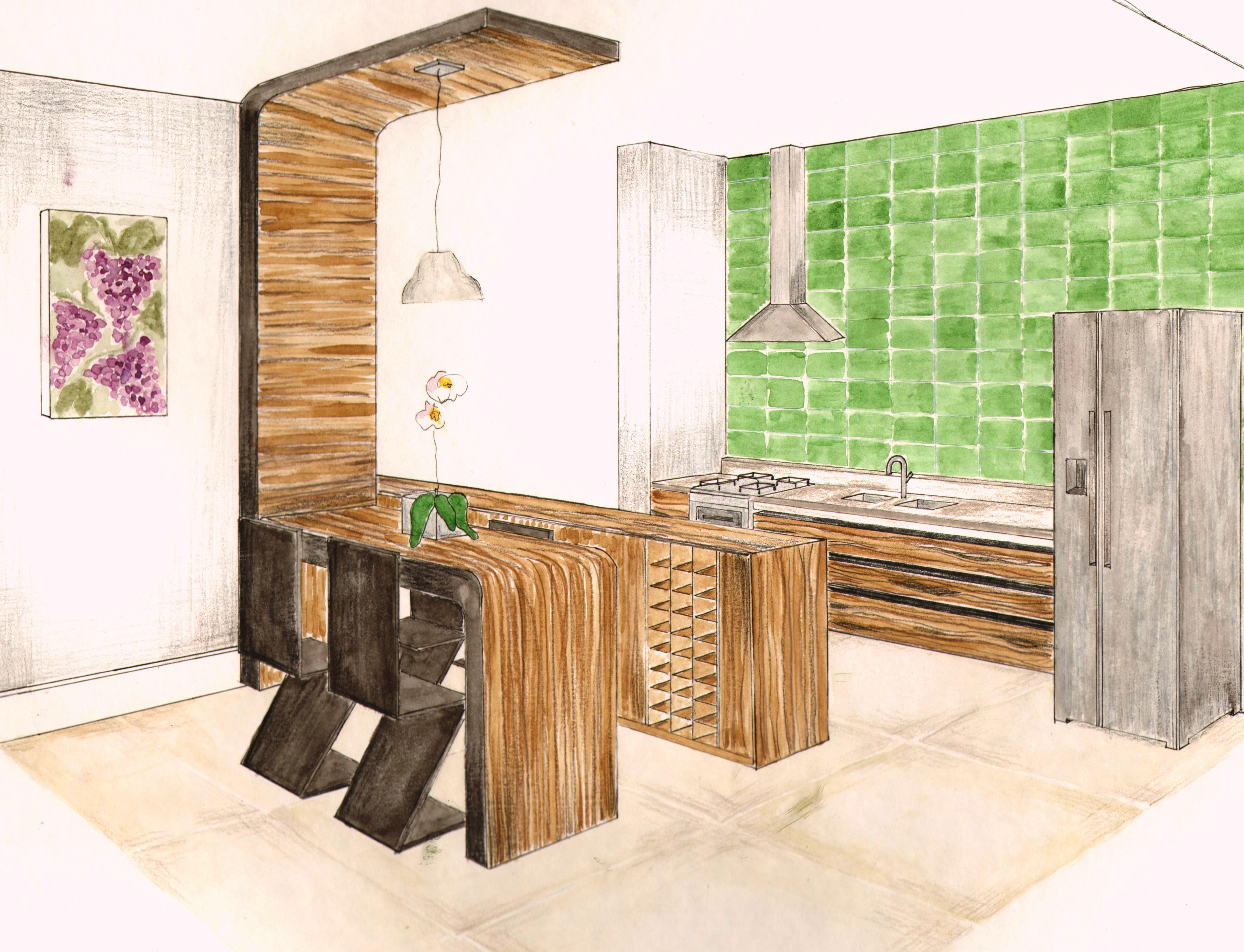 Projeto acadêmico de um apartamento duplex posto a perspectiva da  #A35B28 5044 3860